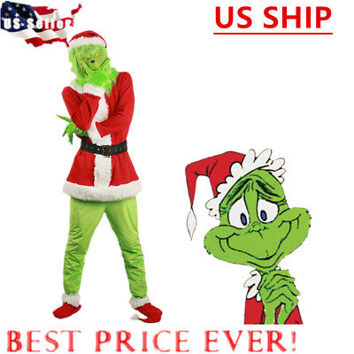 US! Santa Grinch Cosplay Costume How the Grinch Stole Christmas Suit Outfits Set ()