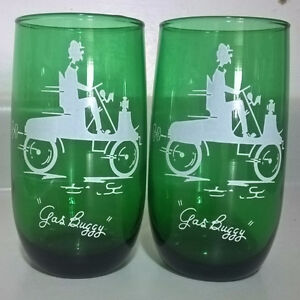 "Vintage Anchor Hocking Forest Green ""Gas Buggy"" Glasses"