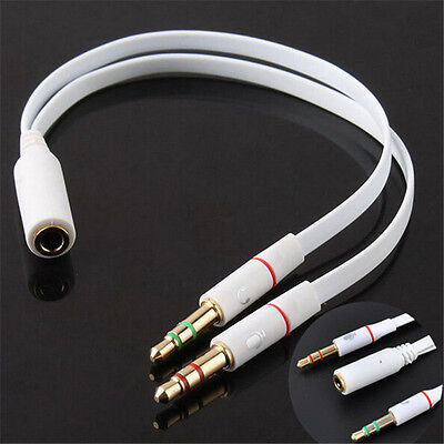 Female to 2 Male Stylish Aux Audio Mic Splitter Cable Earphone Headphone Adapter