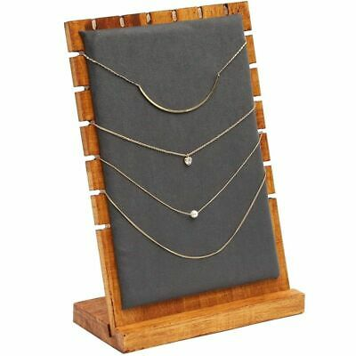 Wood And Velvet Necklace Jewelry Tabletop Display Board 9.75 X 6.6 X 0.3 Inch