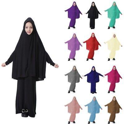 Mädchen Kinder Muslim Langes Kleid Kaftan Islamic Arab Jilbab Abaya + Hijab Set ()