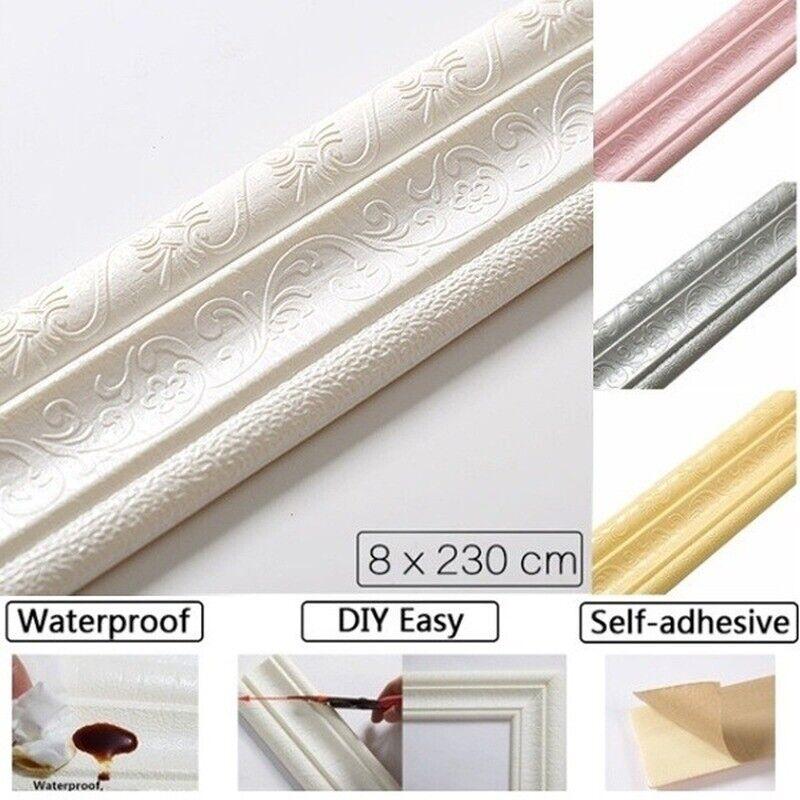 Home Decoration - 7.5ft Waterproof 3D Adhesive Border Wall Sticker Pattern Wallpaper Wall Decor