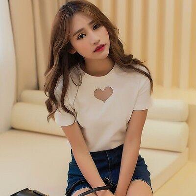 Womens Short Sleeve Heart Shape Hollow Out T Shirt White Black Cute Heart Tops