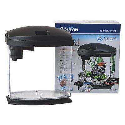 "Aqueon LED MiniBow Desktop Aquarium Kit Black 1 Gallon (7.8""L x 6""W x 7""H)"