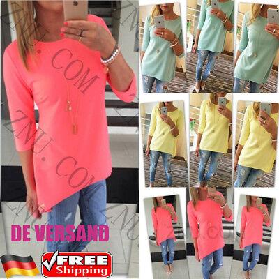 3/4 Ärmel Plus Size Bluse (Damen 3/4 Ärmel Blusen Longbluse Freizeit T-Shirt Oberteil Sommer Tops Plus Size)