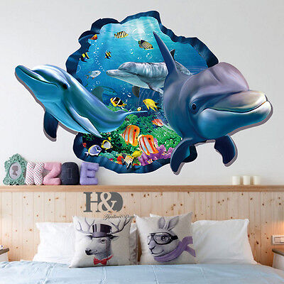 3D Ocean Dolphin Removable Vinyl Decal Wall Sticker Art Mural Room Decor New