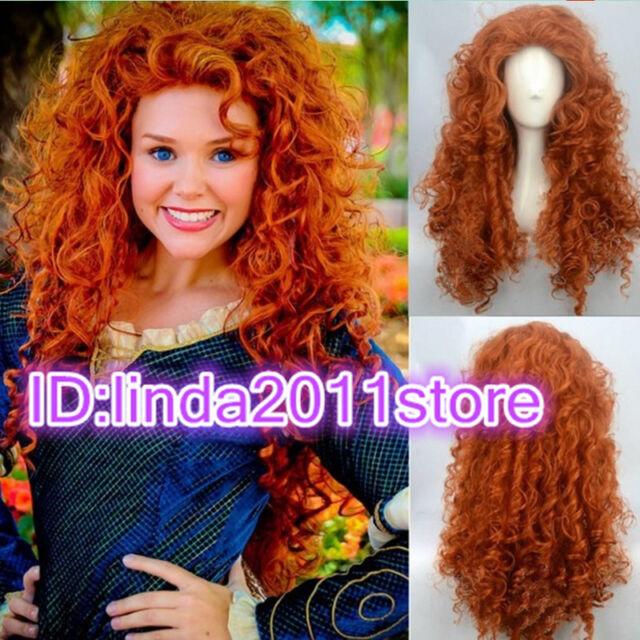Pixar Animated movie of Brave MERIDA cosplay Long curly orange wig