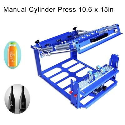 Manual Cylinder Screen Printing Machine Ball Pen Cup Bottle Curve Press Station