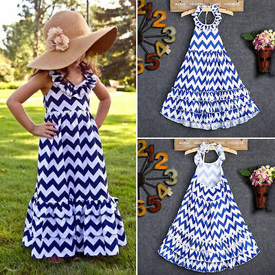 USA Maxi Kids Girls Long Party Dress Boho Stripe Summer Beach Sundress 3-10Y YMZ - Kids Maxi Dress