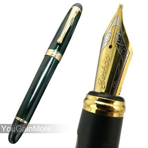 Jinhao X450 Fountain Pen Green Marble Medium Nib Gold Trim New