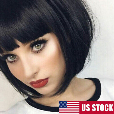 13Color Synthetic Bob Wig Short Staright Full Black Wig with Bangs for Women Wig](Womens Black Wig)