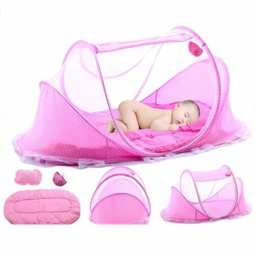 Portable Baby Toddler Travel Bed With Pillow Folding Baby Crib With Mosquito Net