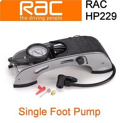 New RAC Heavy Duty Single Barrel Foot Pump - Cars, Bikes, Van, Camping