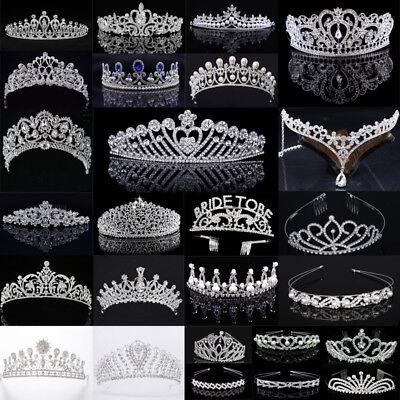 Diadem Tiara Haarreif Haarschmuck Stirnband Hochzeit Silber Strass Braut Krone