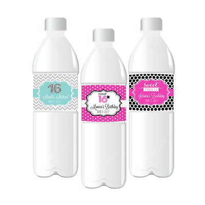 6/15 Theme Water Bottle Labels Birthday Party Favors  (Sweet 15 Themen)
