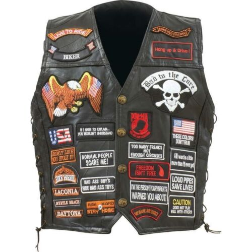 LEATHER VEST Mens Black 42 Patch Genuine Motorcycle US Flag