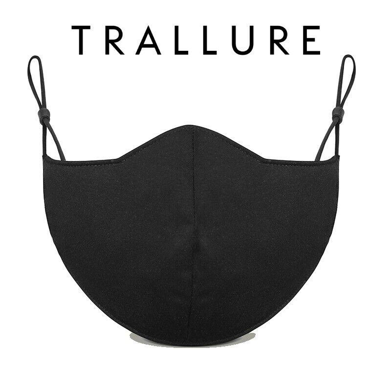 Cotton Antimicrobial Black Face Mask Triple Layer Washable Reusable Fashionable
