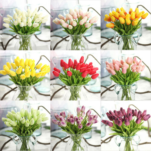 Home Decoration - Artificial Real Touch PU Tulips Flower Wedding Party Bridal Home Decoration UK