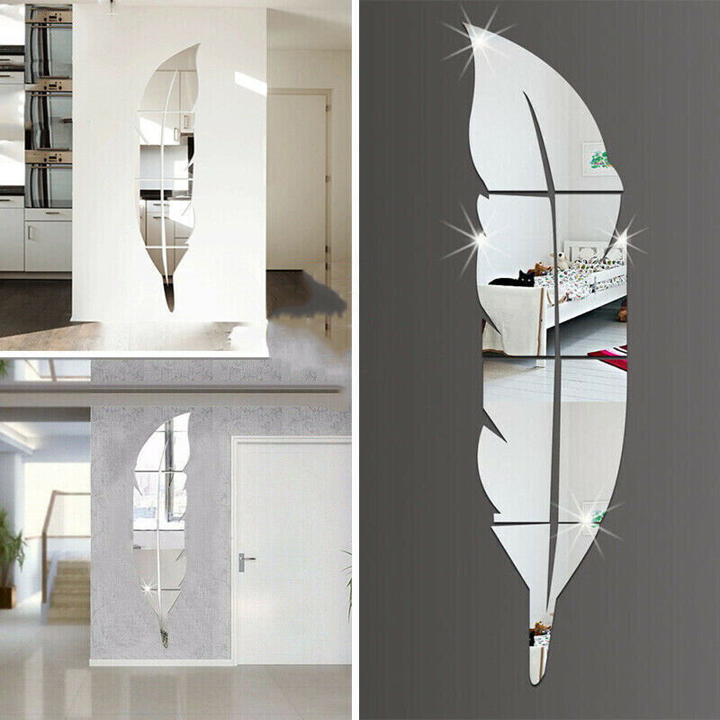 Home Decoration - Feather Mirror Tiles Wall Stickers Self Adhesive Decor Stick On Art Home Decal