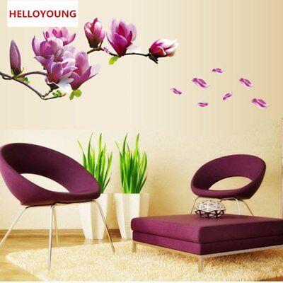 Purple Magnolia Flower Wall Stickers  Schlafzimmer Wandtattoos Decor Wohnzimmer (Purple Flower Tattoo)