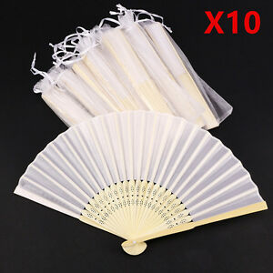 10PCS Stunning White Silk Fans With Gift Bag Wedding Favours Beach Party