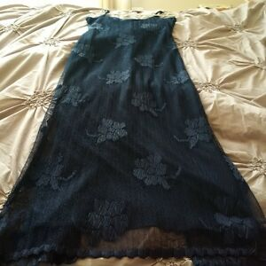 Navy Blue Spaghetti Strap Flower Dress - Size 8 Kitchener / Waterloo Kitchener Area image 1
