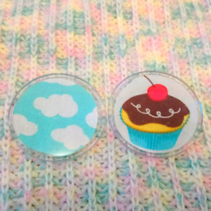 Pin buttons - cupcake and sky with clouds