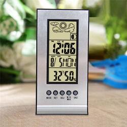 Desktop LCD Digital Display Alarm Clock Temperature Thermometer Calendar Snooze