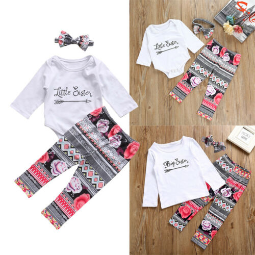 US Newborn Baby Little/Big Sister Romper T-shirt+Long Pants Outfits Clothes Set