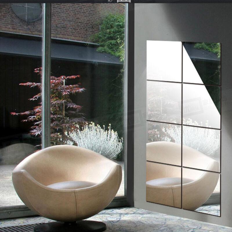 Home Decoration - UK 16pcs Decorative Mosaic Self-adhesive Tiles Mirror Wall Stickers Square Decor