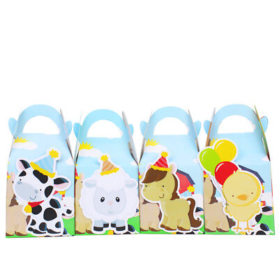4x Animal Farm Barn Lolly Loot Bag Box Party Supplies Bunting Cake Banner Game ()