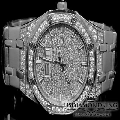 WHITE NEW ALL STAINLESS STEEL BLINGMASTER FULL ICED OUT CZ FASHION WRIST WATCH