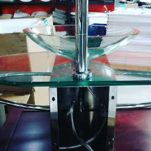Custom glass sink with faucet for sale @HFHGTA
