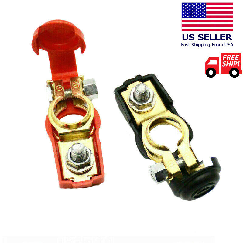 2 Car Battery Terminal Connector Top Post Positive Negative Clamp Heavy Duty