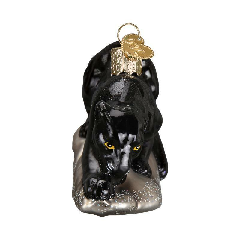 PROWLING PANTHER OLD WORLD CHRISTMAS GLASS JUNGLE CAT FELINE ORNAMENT NWT 12516