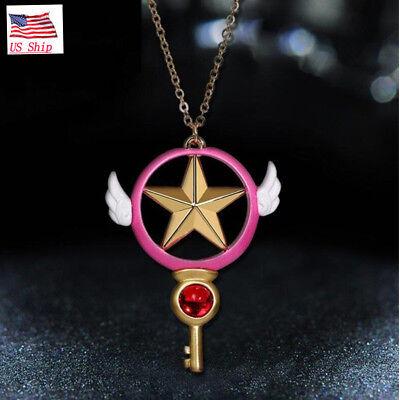 US SHIP Anime Card Captor Sakura Kinomoto Star Wand Key Necklace Halloween Gift
