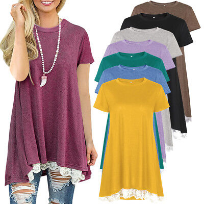 Womens Cotton Tunic Short Sleeve A Line Swing Loose Top Blouse T Shirt Dress