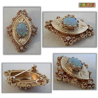 Ketten Anhänger oder Brosche mit Opal und Diamanten - 585er Gold