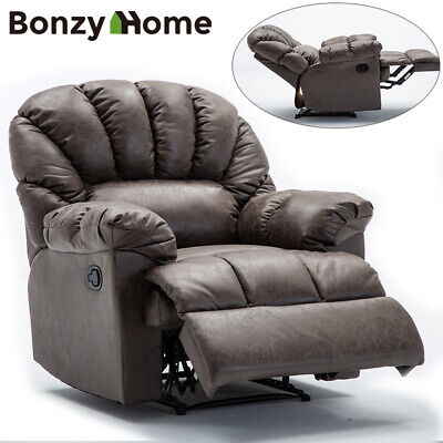 Leather Recliner Chair Overstuffed Padded Wide Backrest Manual Heavy Duty Sofa