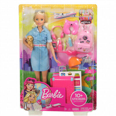 Barbie Doll Travel Set Puppy, Luggage and 10+ Accessories, Multicolour