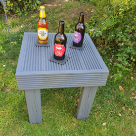 Handmade outdoors drinks table made from recycled wood. £25