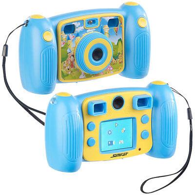 Somikon Kinder-Full-HD-Digitalkamera, 2. Objektiv für Selfies & 2 Sucher, blau
