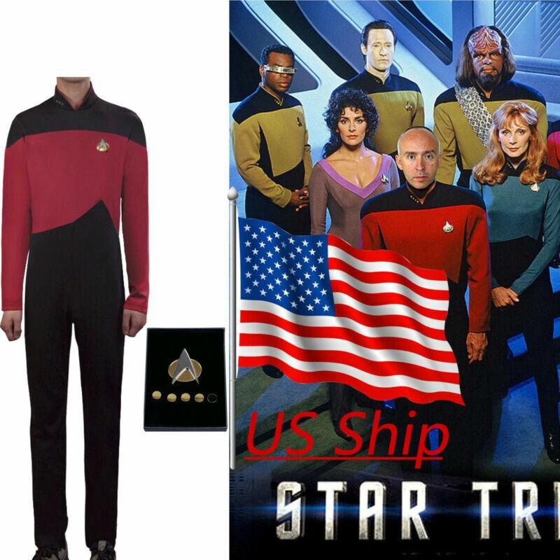 Star Trek TNG Jumpsuit Uniform Cosplay The Next Generation Red Costume Pin Set