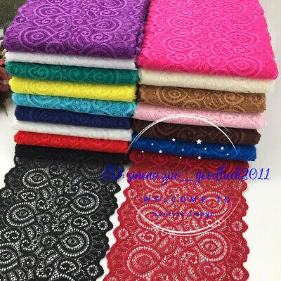 1YD, Flower Stretch Lace Trim Ribbon Elastic fabric 18cm wide Sewing Craft FL251 - Fabric Flower