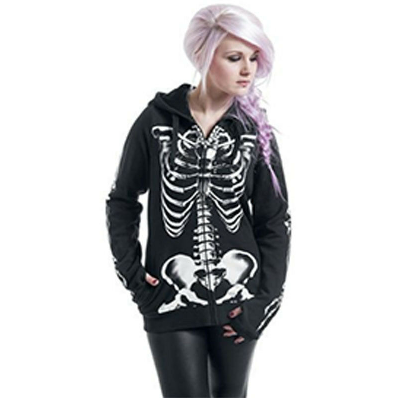 Gothic Women Girls Punk Skull Hooded Sweat Hoodies Jacket Coat Cosplay Top Black