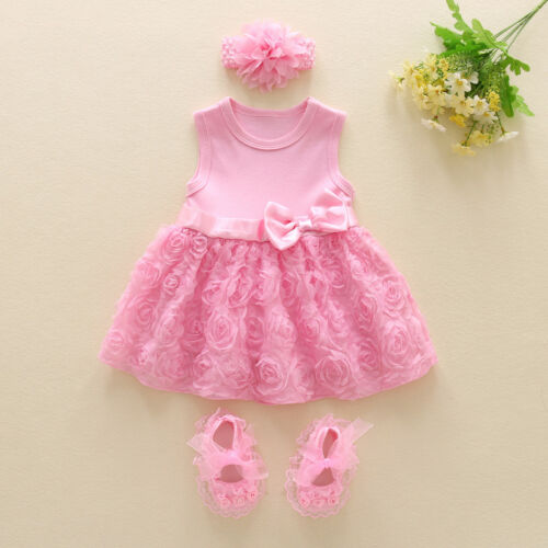 Baby infant clothes girls dress+ headband+ shoes princess bi