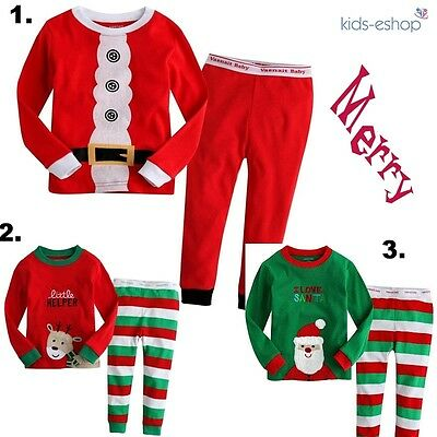 Girls Boys Christmas Xmas Pyjama Set Santa Reindeer Gift Red Green 2-7 Years - Green Christmas Pyjama