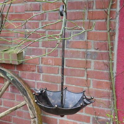 Vogeltränke Schirm zum Hängen mit Spatzen Vogelbad Garten Metall Gusseisen Eisen
