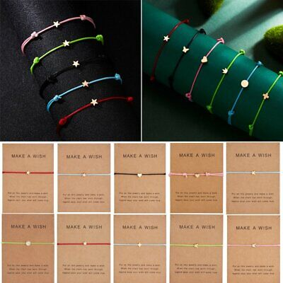 Multicolor Make a wish Bracelet Rope Adjustable String Lucky Bracelet Women Kids (String Bracelet)