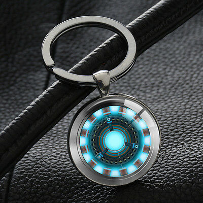 Iron Man Arc Reactor Keychains Superhero Key Chain Silver Glass Round Pendant